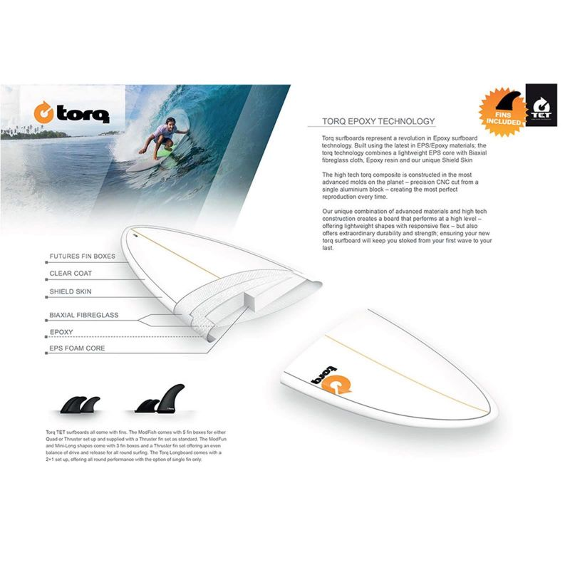 Surfboard TORQ Epoxy TET 7.6 Funboard White Yellow