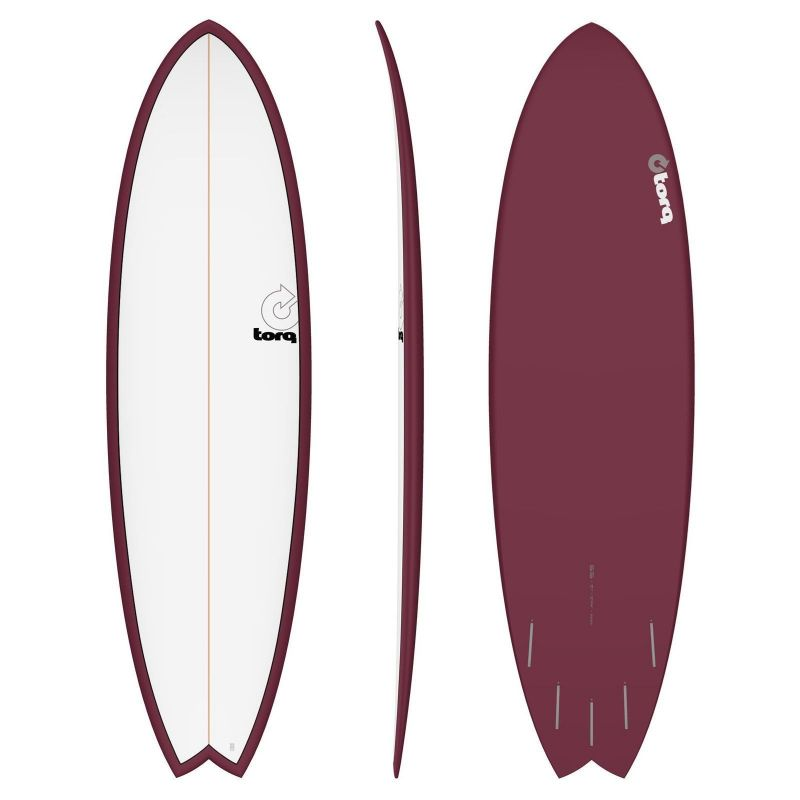 Surfboard TORQ Epoxy TET 6.6 Fish White Burgundy