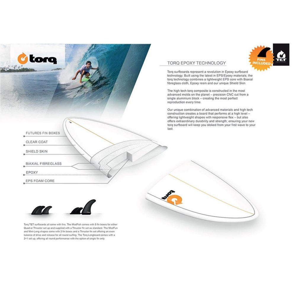 Surfboard TORQ Epoxy TET 7.6 Funboard White Red