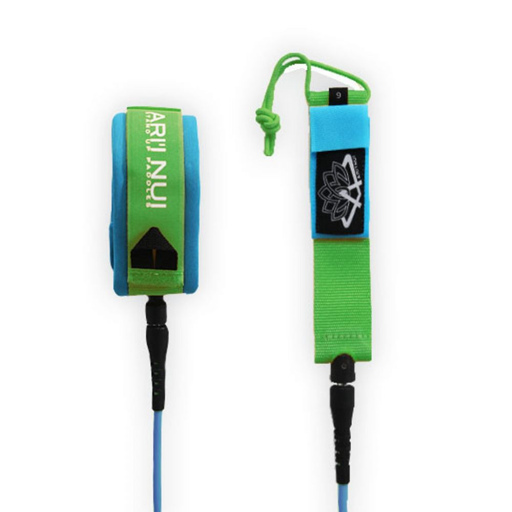 ARIINUI SUP coiled knee Leash 9.0 Blue Green